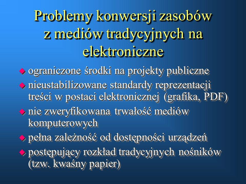 Problemy konwersji zasobów z mediów tradycyjnych na elektroniczne u ograniczone środki na projekty publiczne u nieustabilizowane standardy reprezentac