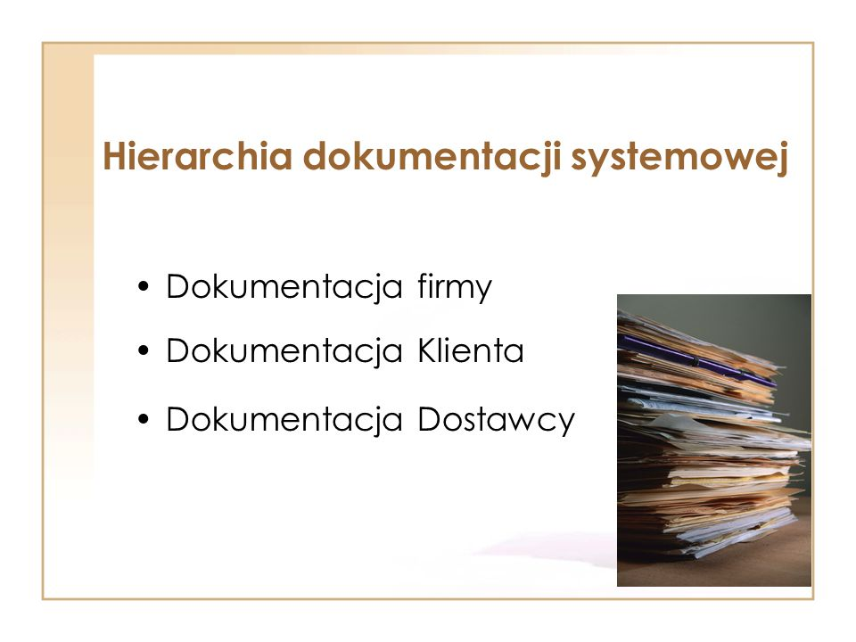 Dokumentacja firmy Dokumentacja Klienta Dokumentacja Dostawcy Hierarchia dokumentacji systemowej