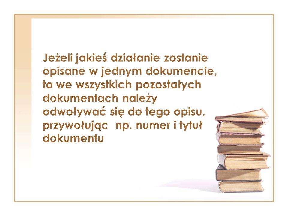 Jeżeli jakieś działanie zostanie opisane w jednym dokumencie, to we wszystkich pozostałych dokumentach należy odwoływać się do tego opisu, przywołując np.