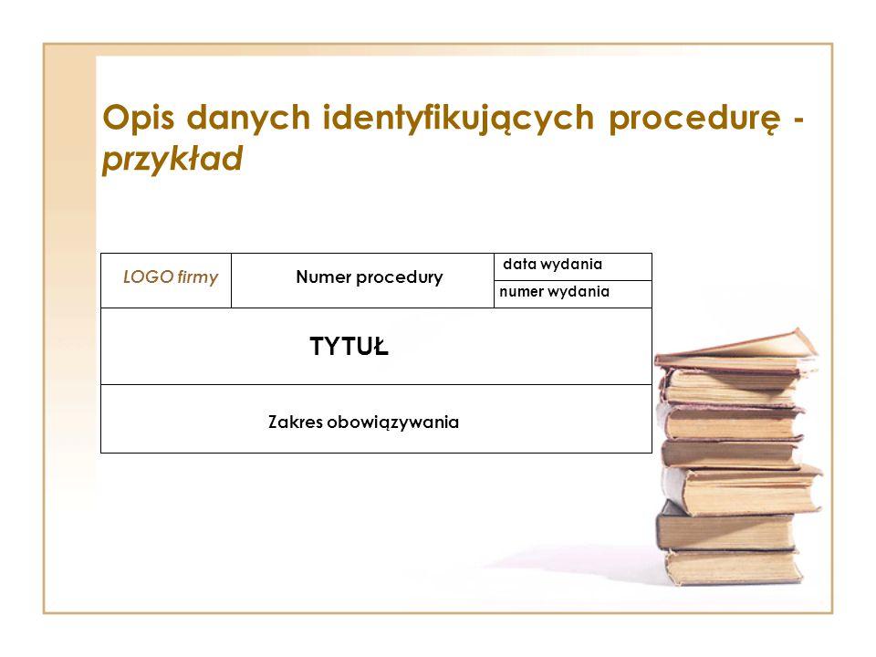 Opis danych identyfikujących procedurę - przykład LOGO firmy Numer procedury data wydania numer wydania TYTUŁ Zakres obowiązywania