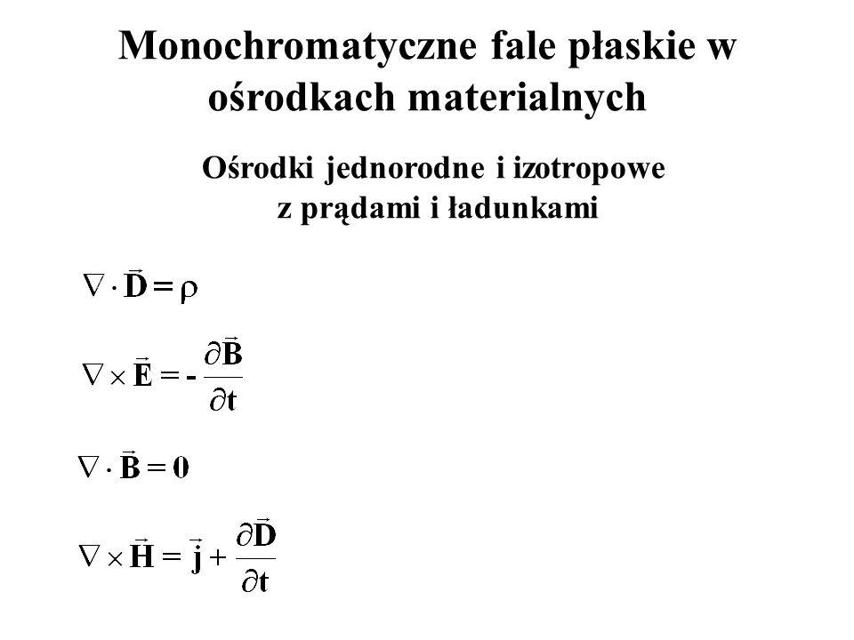 Monochromatyczne fale płaskie w ośrodkach materialnych Ośrodki jednorodne i izotropowe z prądami i ładunkami
