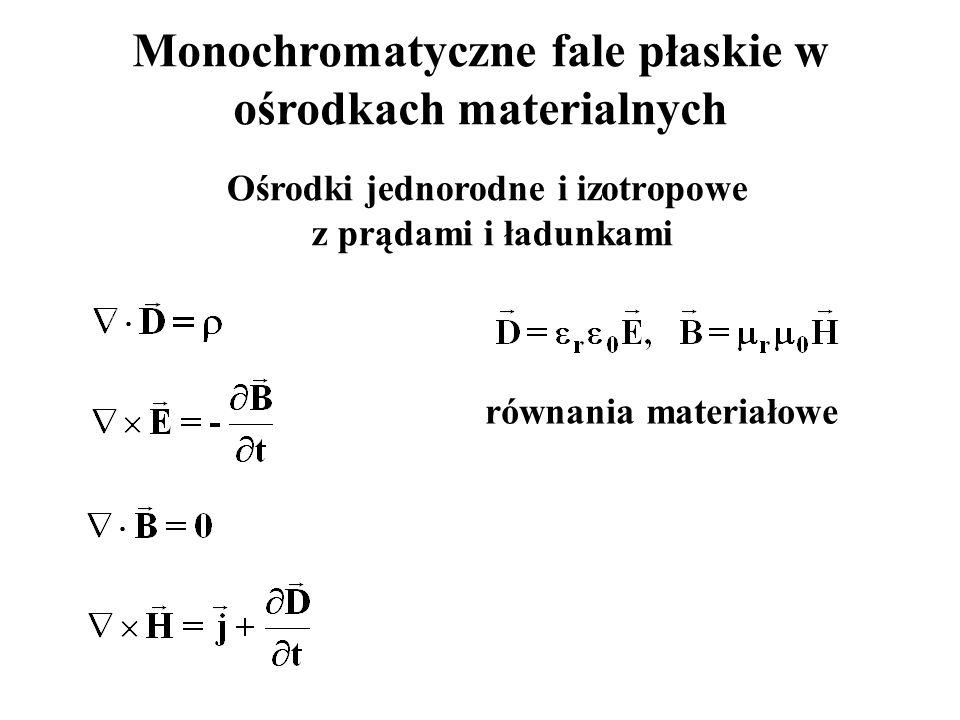 Monochromatyczne fale płaskie w ośrodkach materialnych Ośrodki jednorodne i izotropowe z prądami i ładunkami równania materiałowe