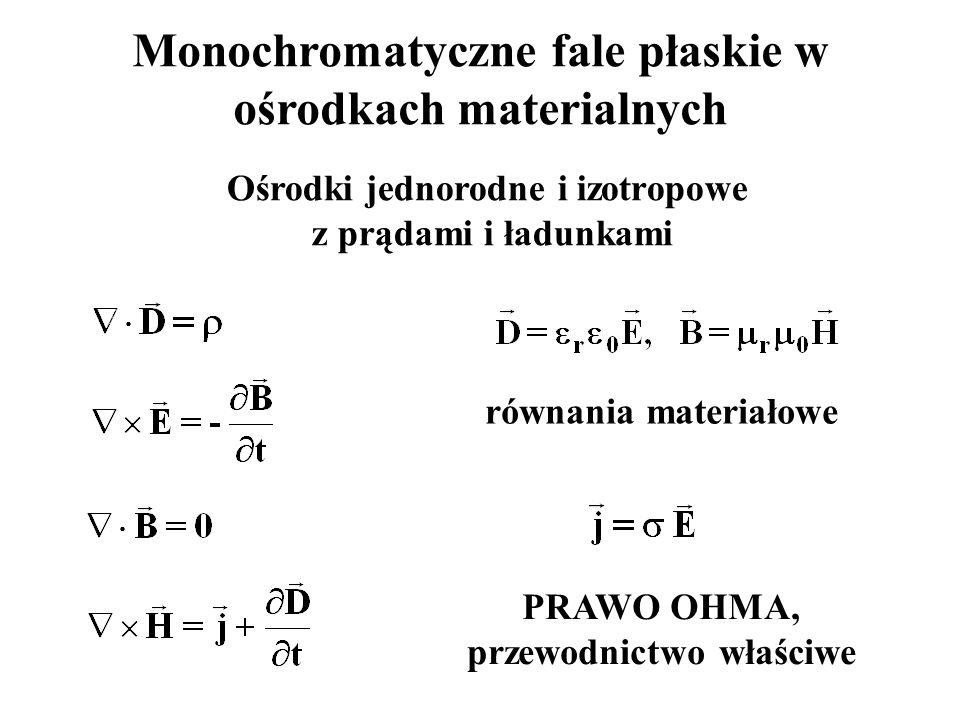 Monochromatyczne fale płaskie w ośrodkach materialnych Ośrodki jednorodne i izotropowe z prądami i ładunkami PRAWO OHMA, przewodnictwo właściwe równania materiałowe