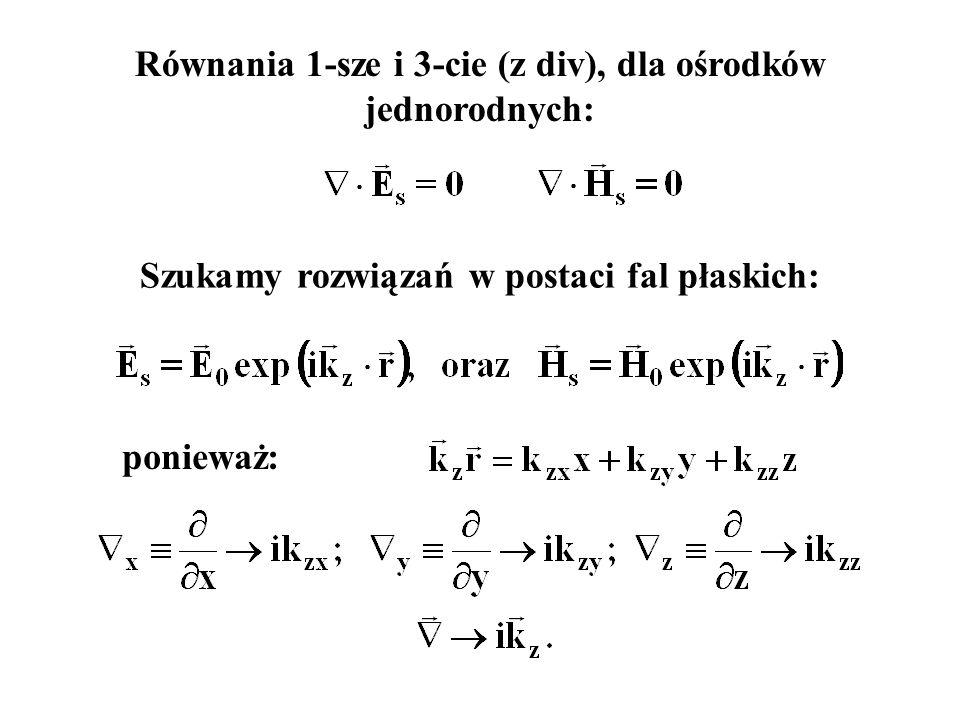 Równania 1-sze i 3-cie (z div), dla ośrodków jednorodnych: Szukamy rozwiązań w postaci fal płaskich: ponieważ: