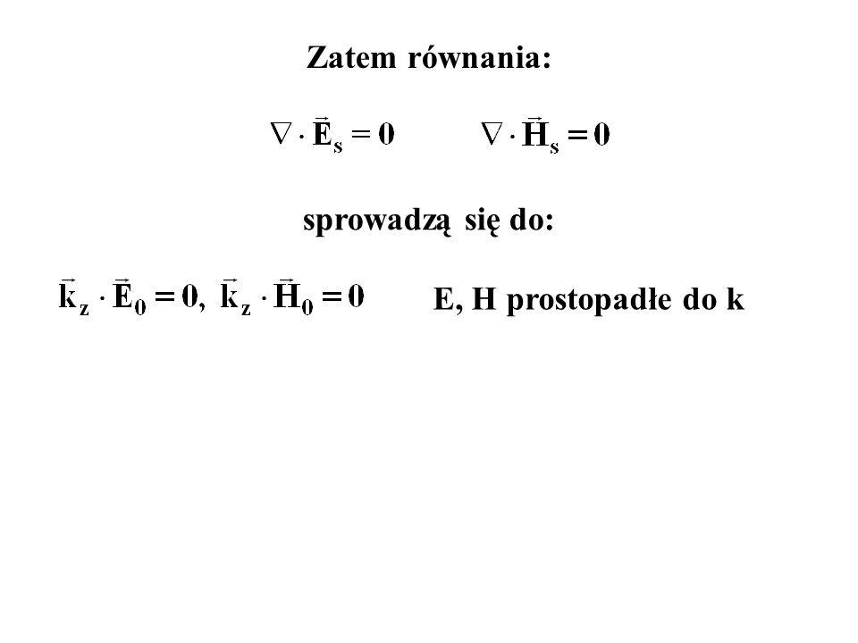 Zatem równania: sprowadzą się do: E, H prostopadłe do k
