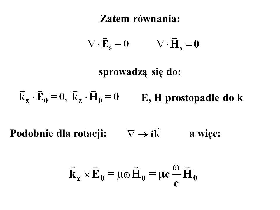 Zatem równania: sprowadzą się do: Podobnie dla rotacji:a więc: E, H prostopadłe do k
