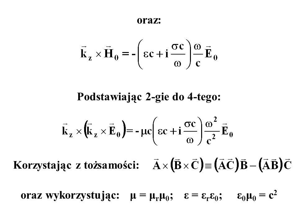 oraz: Podstawiając 2-gie do 4-tego: Korzystając z tożsamości: oraz wykorzystując: μ = μ r μ 0 ; ε = ε r ε 0 ; ε 0 μ 0 = c 2