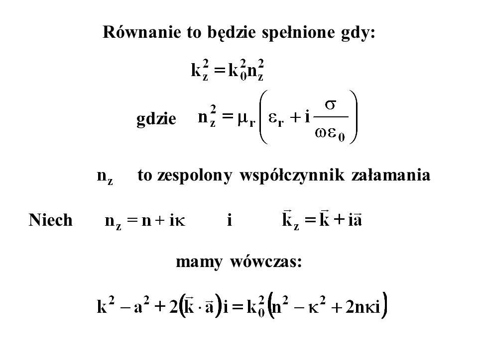 Równanie to będzie spełnione gdy: gdzie to zespolony współczynnik załamania Niechi mamy wówczas: