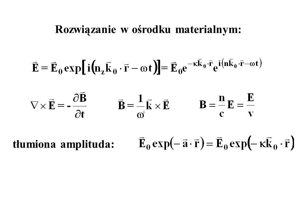 i tłumiona amplituda: Rozwiązanie w ośrodku materialnym: