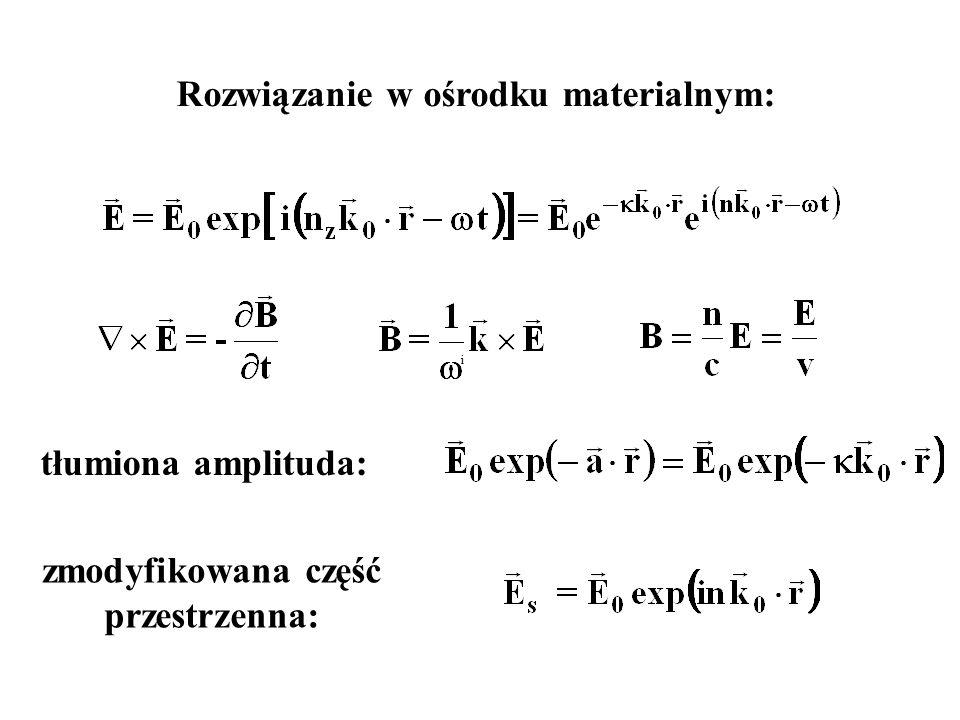 i tłumiona amplituda: Rozwiązanie w ośrodku materialnym: zmodyfikowana część przestrzenna: