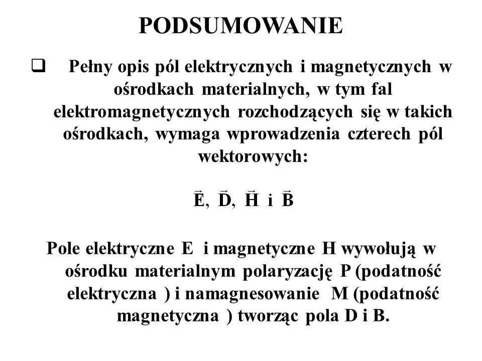 PODSUMOWANIE  Pełny opis pól elektrycznych i magnetycznych w ośrodkach materialnych, w tym fal elektromagnetycznych rozchodzących się w takich ośrodkach, wymaga wprowadzenia czterech pól wektorowych: Pole elektryczne E i magnetyczne H wywołują w ośrodku materialnym polaryzację P (podatność elektryczna ) i namagnesowanie M (podatność magnetyczna ) tworząc pola D i B.