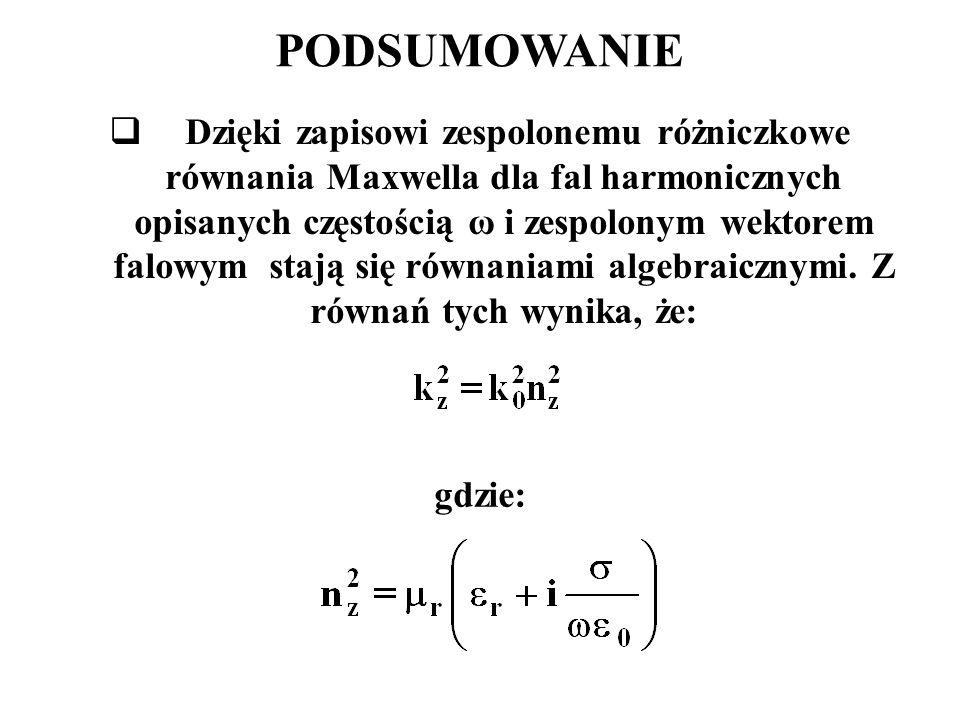PODSUMOWANIE  Dzięki zapisowi zespolonemu różniczkowe równania Maxwella dla fal harmonicznych opisanych częstością ω i zespolonym wektorem falowym stają się równaniami algebraicznymi.