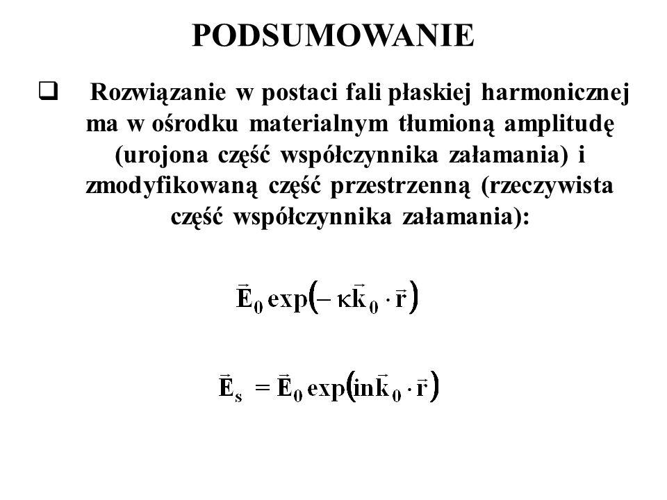 PODSUMOWANIE  Rozwiązanie w postaci fali płaskiej harmonicznej ma w ośrodku materialnym tłumioną amplitudę (urojona część współczynnika załamania) i zmodyfikowaną część przestrzenną (rzeczywista część współczynnika załamania):