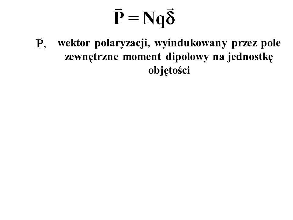 wektor polaryzacji, wyindukowany przez pole zewnętrzne moment dipolowy na jednostkę objętości