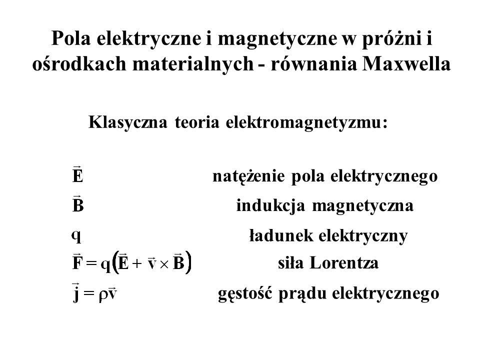 Pola elektryczne i magnetyczne w próżni i ośrodkach materialnych - równania Maxwella Klasyczna teoria elektromagnetyzmu: natężenie pola elektrycznego indukcja magnetyczna ładunek elektryczny siła Lorentza gęstość prądu elektrycznego