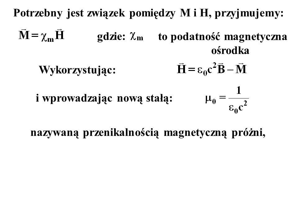 Potrzebny jest związek pomiędzy M i H, przyjmujemy: gdzie: to podatność magnetyczna ośrodka Wykorzystując: i wprowadzając nową stałą: nazywaną przenikalnością magnetyczną próżni,