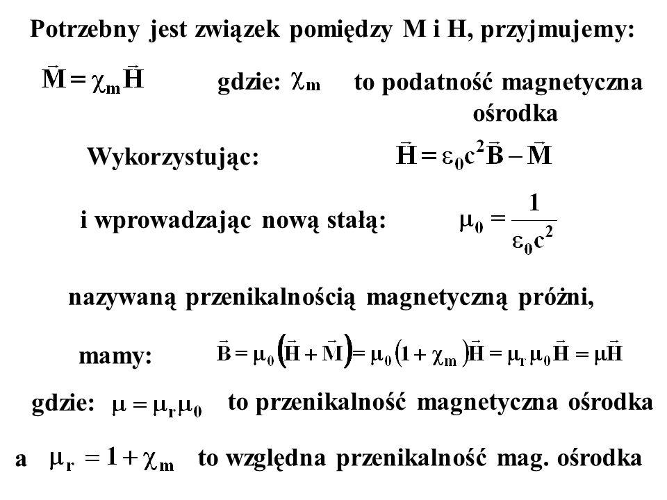 Potrzebny jest związek pomiędzy M i H, przyjmujemy: gdzie: to podatność magnetyczna ośrodka Wykorzystując: i wprowadzając nową stałą: nazywaną przenikalnością magnetyczną próżni, mamy: gdzie: to przenikalność magnetyczna ośrodka a to względna przenikalność mag.