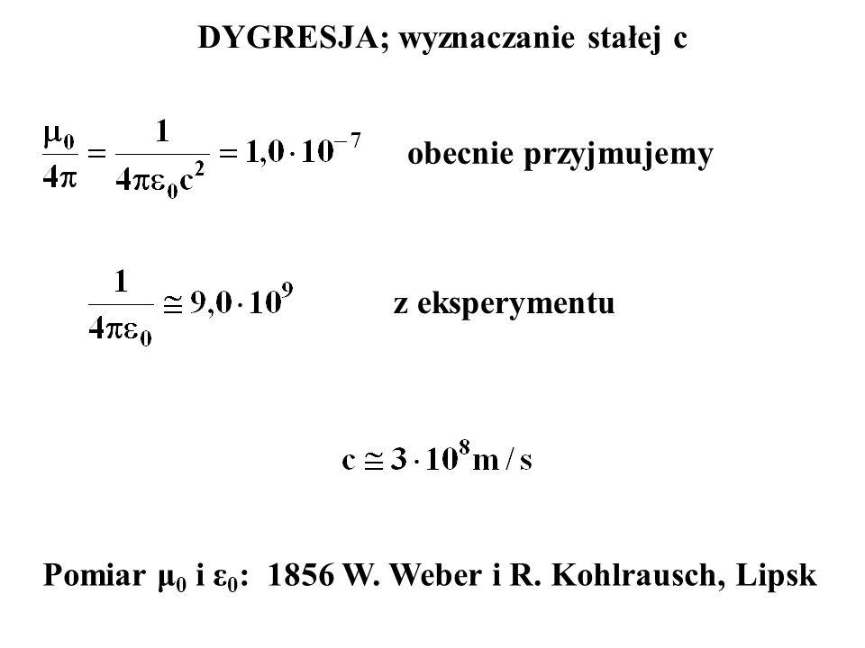 DYGRESJA; wyznaczanie stałej c obecnie przyjmujemy z eksperymentu Pomiar μ 0 i ε 0 : 1856 W. Weber i R. Kohlrausch, Lipsk