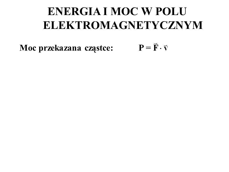 Moc przekazana cząstce: ENERGIA I MOC W POLU ELEKTROMAGNETYCZNYM