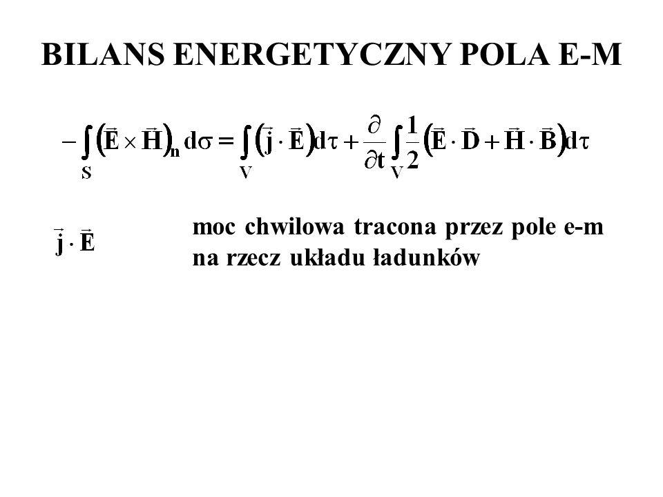 moc chwilowa tracona przez pole e-m na rzecz układu ładunków BILANS ENERGETYCZNY POLA E-M
