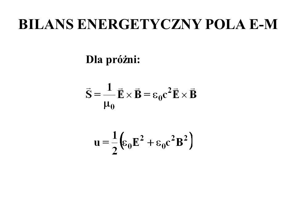Dla próżni: BILANS ENERGETYCZNY POLA E-M