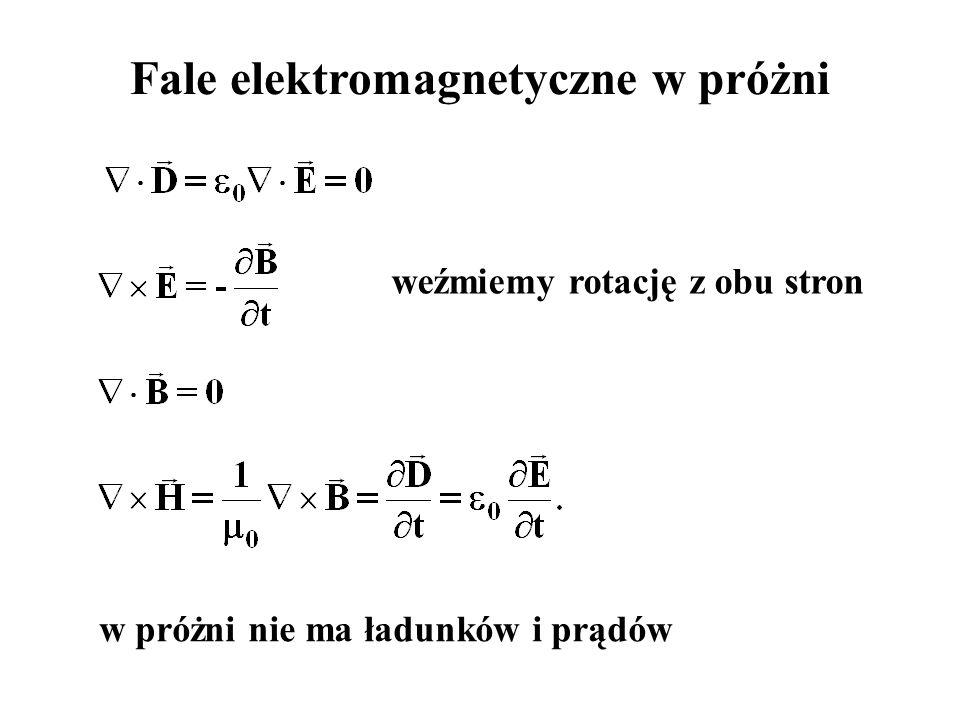 Fale elektromagnetyczne w próżni w próżni nie ma ładunków i prądów weźmiemy rotację z obu stron