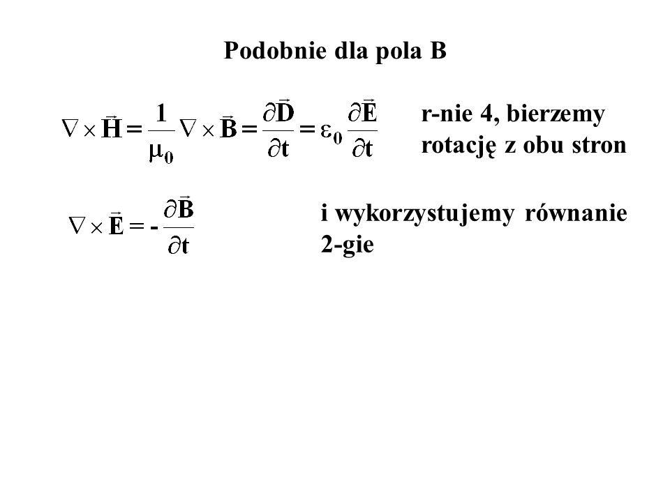 Podobnie dla pola B r-nie 4, bierzemy rotację z obu stron i wykorzystujemy równanie 2-gie