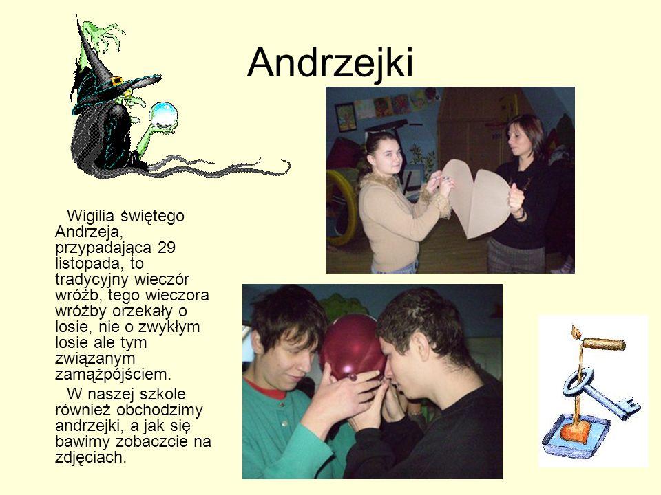 Andrzejki Wigilia świętego Andrzeja, przypadająca 29 listopada, to tradycyjny wieczór wróżb, tego wieczora wróżby orzekały o losie, nie o zwykłym losie ale tym związanym zamążpójściem.