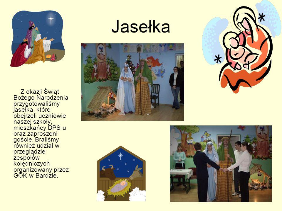Jasełka Z okazji Świąt Bożego Narodzenia przygotowaliśmy jasełka, które obejrzeli uczniowie naszej szkoły, mieszkańcy DPS-u oraz zaproszeni goście.