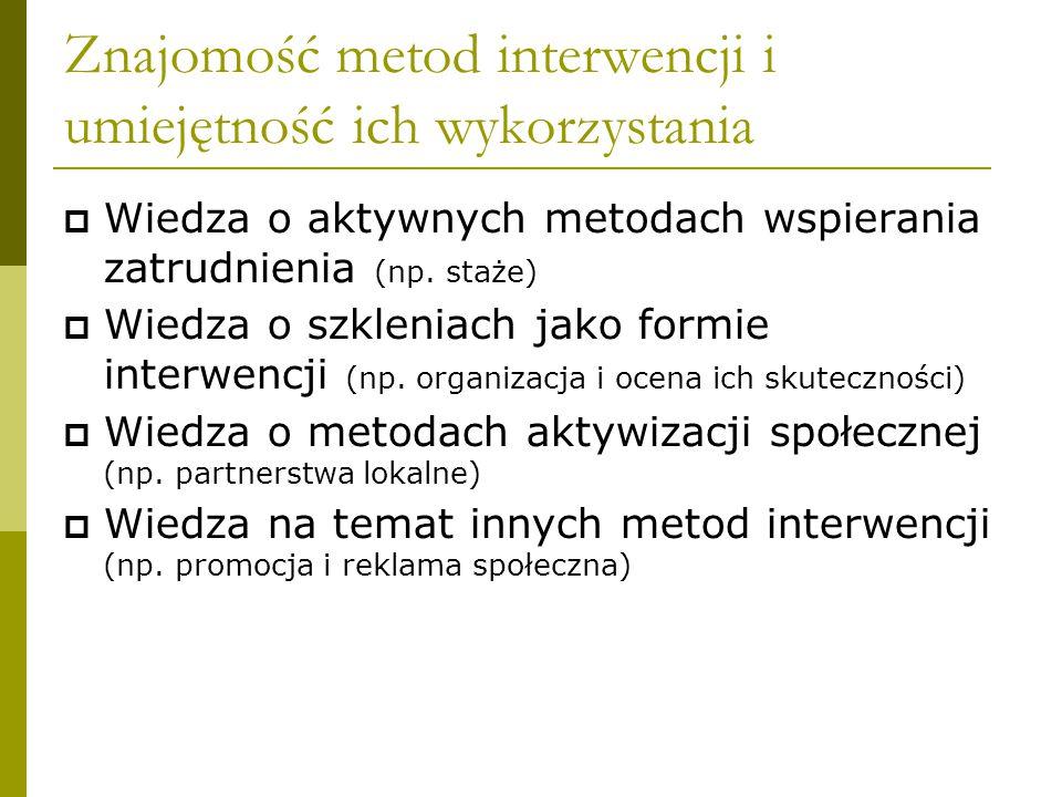 Znajomość metod interwencji i umiejętność ich wykorzystania  Wiedza o aktywnych metodach wspierania zatrudnienia (np.