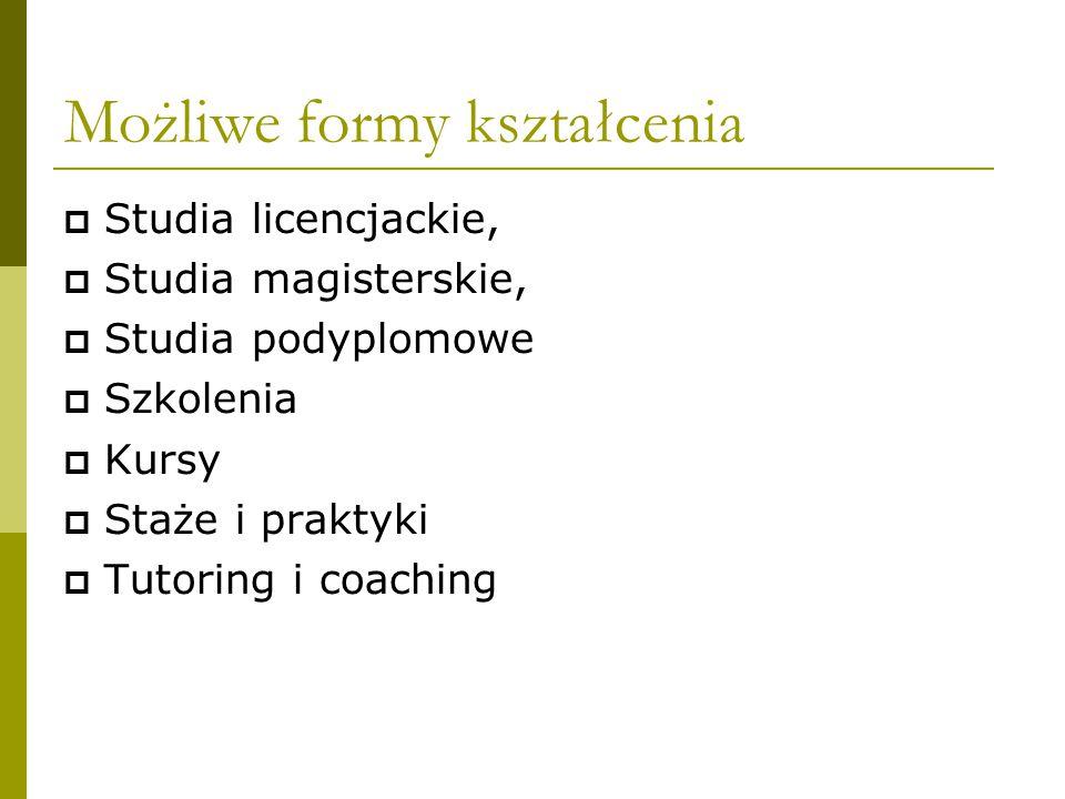 Możliwe formy kształcenia  Studia licencjackie,  Studia magisterskie,  Studia podyplomowe  Szkolenia  Kursy  Staże i praktyki  Tutoring i coaching