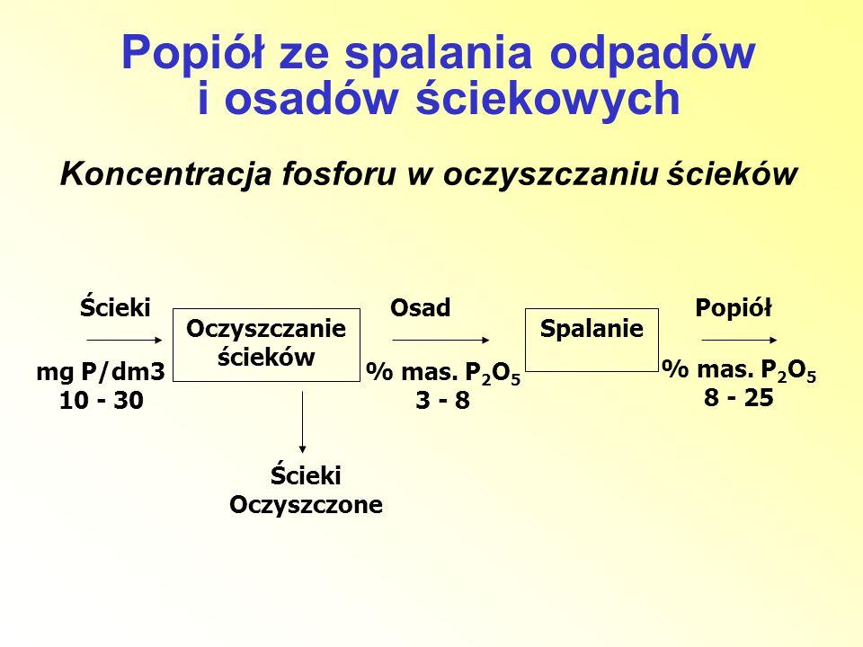 Koncentracja fosforu w oczyszczaniu ścieków % mas. P 2 O 5 8 - 25 Oczyszczanie ścieków Spalanie ŚciekiOsadPopiół % mas. P 2 O 5 3 - 8 Ścieki Oczyszczo