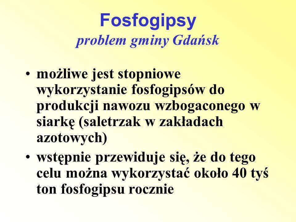 Fosfogipsy problem gminy Gdańsk możliwe jest stopniowe wykorzystanie fosfogipsów do produkcji nawozu wzbogaconego w siarkę (saletrzak w zakładach azot