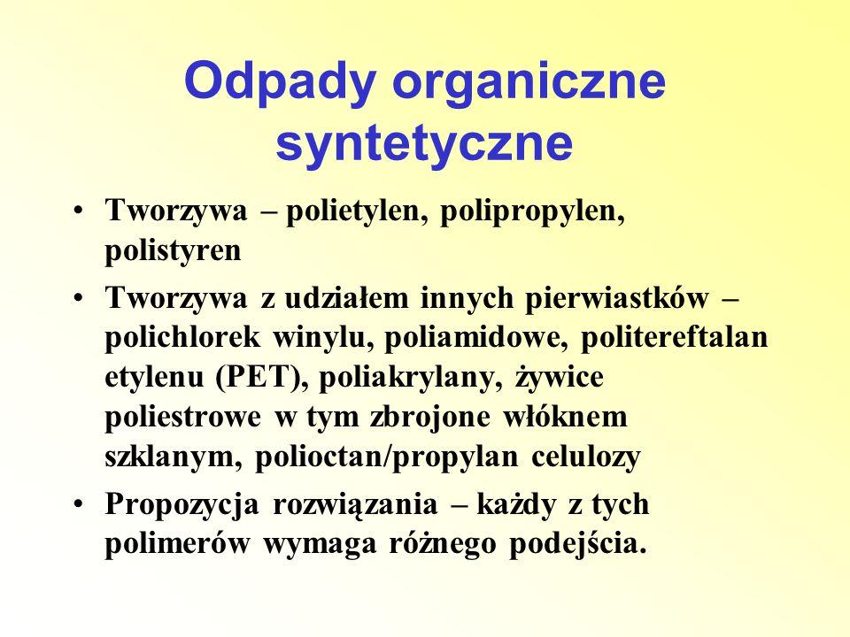 Odpady organiczne syntetyczne Tworzywa – polietylen, polipropylen, polistyren Tworzywa z udziałem innych pierwiastków – polichlorek winylu, poliamidow