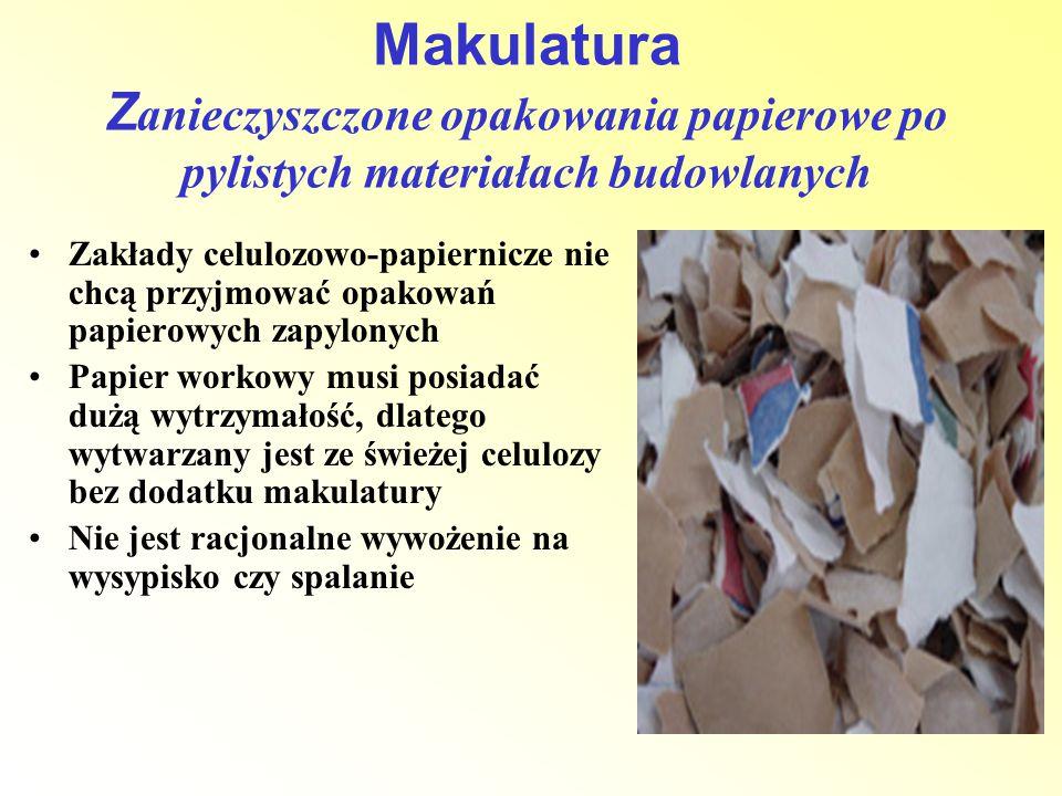 Zakłady celulozowo-papiernicze nie chcą przyjmować opakowań papierowych zapylonych Papier workowy musi posiadać dużą wytrzymałość, dlatego wytwarzany