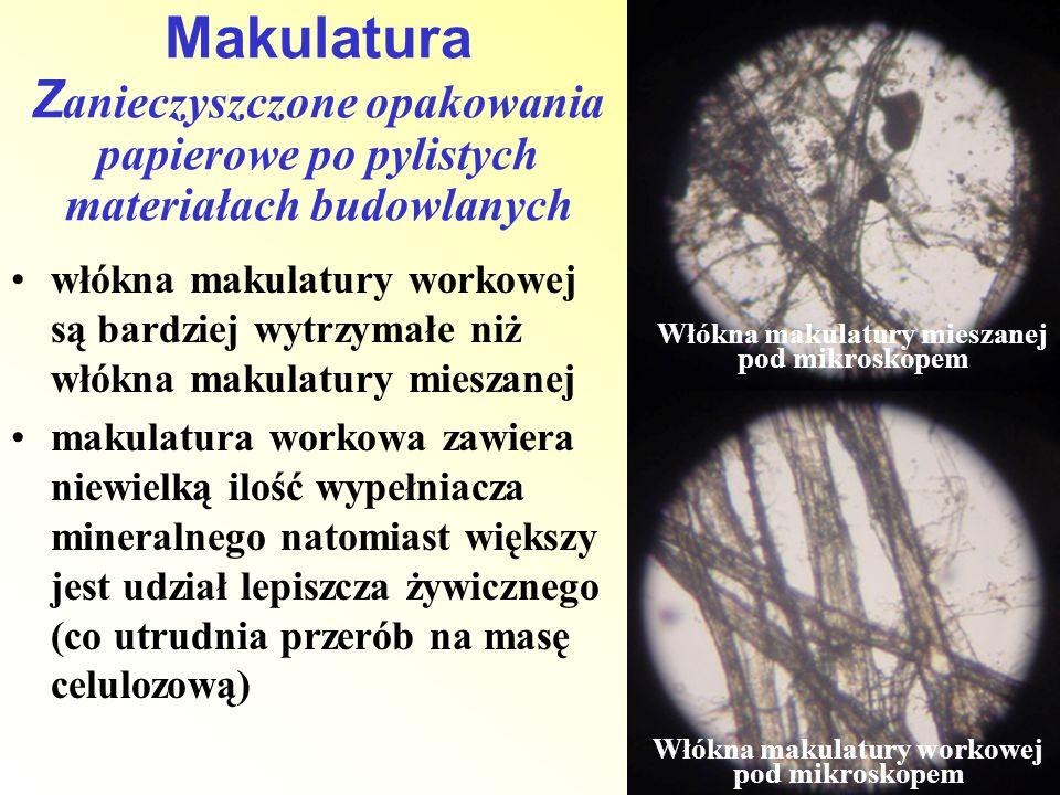 włókna makulatury workowej są bardziej wytrzymałe niż włókna makulatury mieszanej makulatura workowa zawiera niewielką ilość wypełniacza mineralnego n