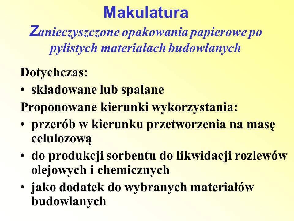 Dotychczas: składowane lub spalane Proponowane kierunki wykorzystania: przerób w kierunku przetworzenia na masę celulozową do produkcji sorbentu do li
