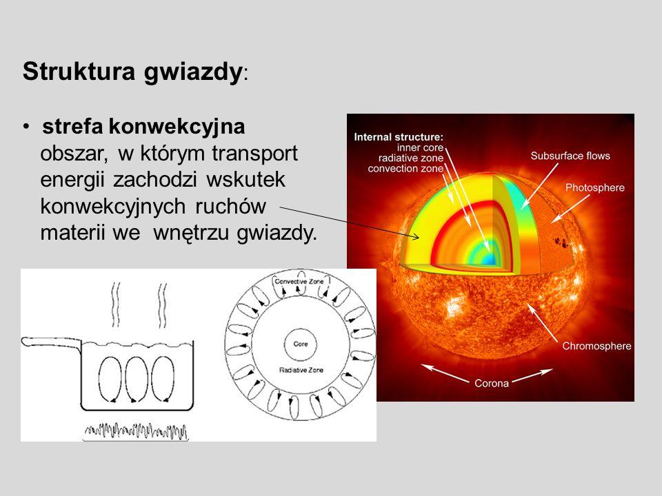 Struktura gwiazdy : strefa konwekcyjna obszar, w którym transport energii zachodzi wskutek konwekcyjnych ruchów materii we wnętrzu gwiazdy.