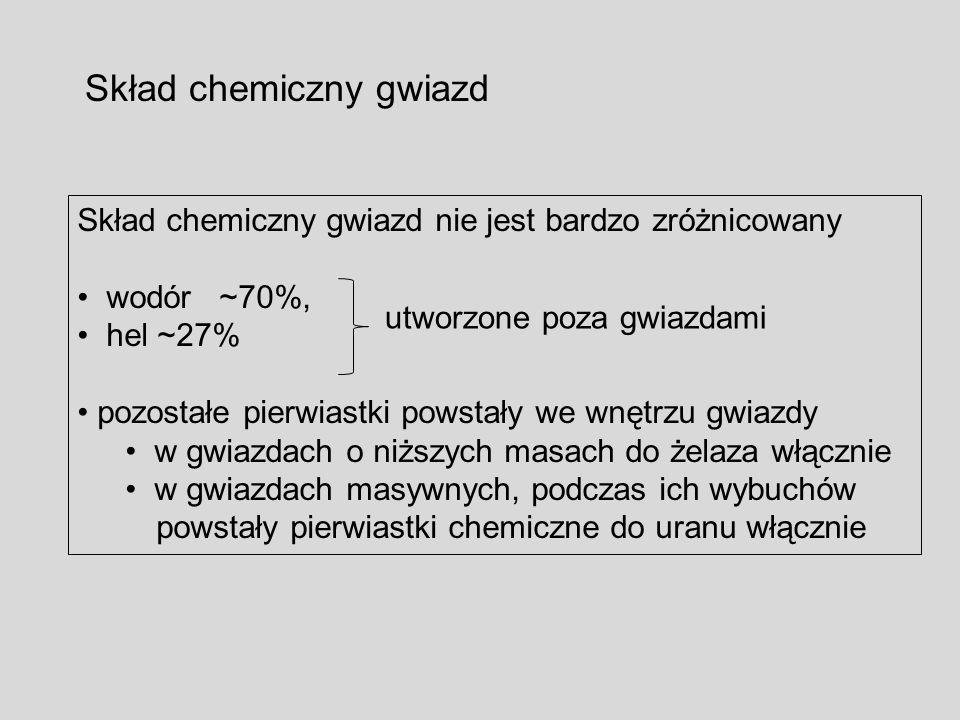 Skład chemiczny gwiazd Skład chemiczny gwiazd nie jest bardzo zróżnicowany wodór ~70%, hel ~27% pozostałe pierwiastki powstały we wnętrzu gwiazdy w gw
