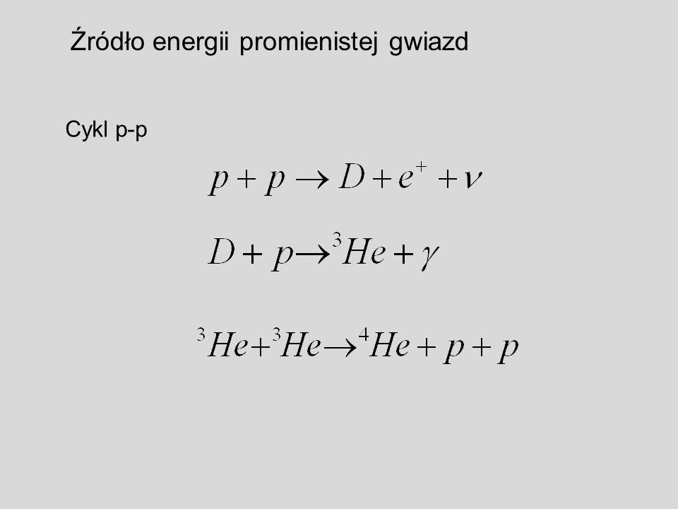 Źródło energii promienistej gwiazd Cykl p-p