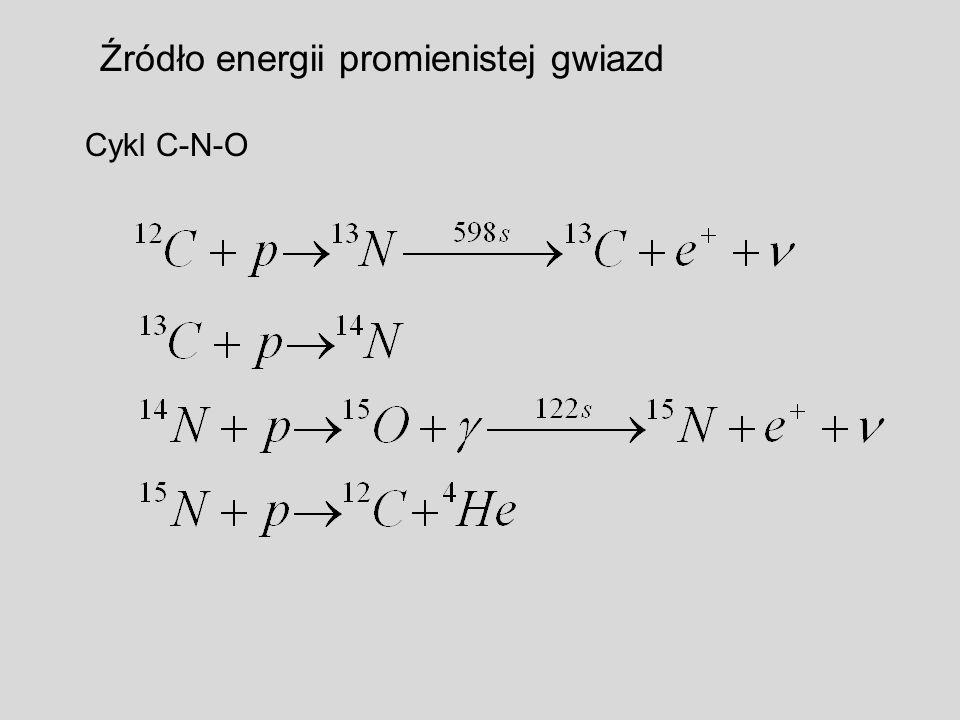 Źródło energii promienistej gwiazd Cykl C-N-O