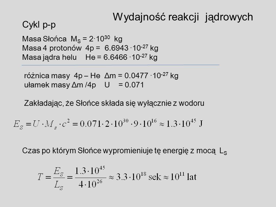 Wydajność reakcji jądrowych Cykl p-p Masa Słońca M S = 2·10 30 kg Masa 4 protonów 4p = 6.6943 ·10 -27 kg Masa jądra helu He = 6.6466 ·10 -27 kg różnic