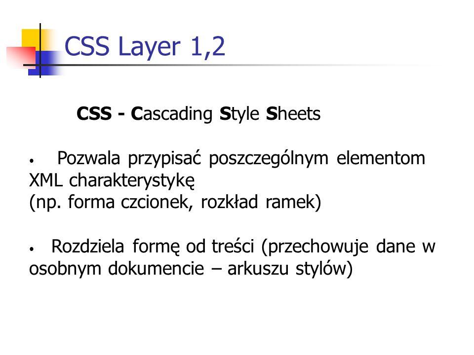CSS Layer 1,2 CSS - Cascading Style Sheets Pozwala przypisać poszczególnym elementom XML charakterystykę (np.