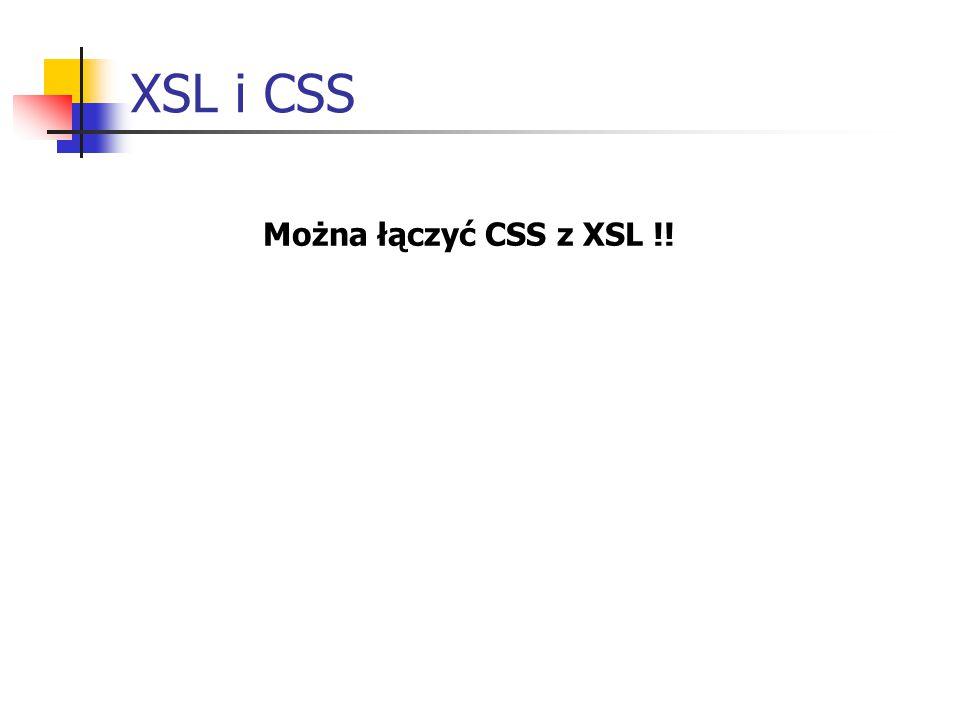 XSL i CSS Można łączyć CSS z XSL !!