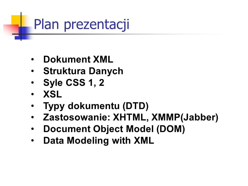 Plan prezentacji Dokument XML Struktura Danych Syle CSS 1, 2 XSL Typy dokumentu (DTD) Zastosowanie: XHTML, XMMP(Jabber) Document Object Model (DOM) Data Modeling with XML