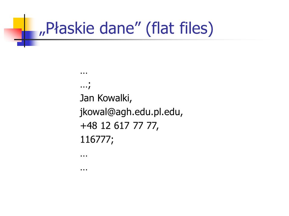 """Płaskie dane (flat files) … …; Jan Kowalki, jkowal@agh.edu.pl.edu, +48 12 617 77 77, 116777; …"