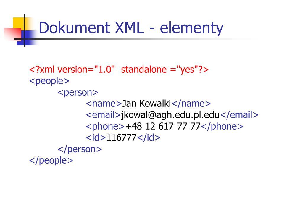 Jan Kowalki jkowal@agh.edu.pl.edu +48 12 617 77 77 116777 Dokument XML - elementy