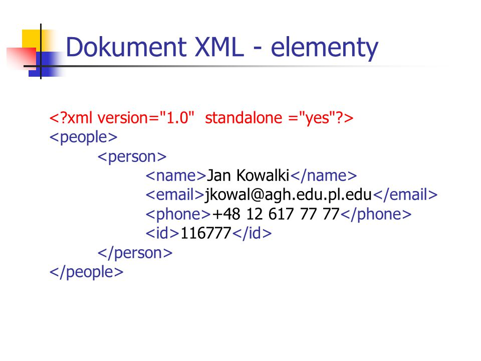 XSL – Przykład użycia Jan Kowalki jkowal@agh.edu.pl +48 12 617 77 77 116777 XSL: HTML: