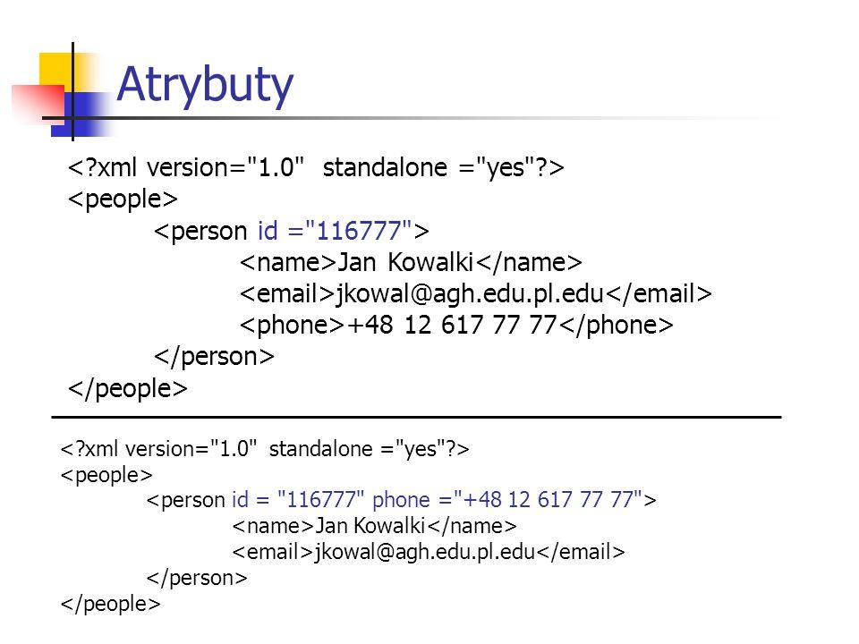 DTD - document type definition XML jest językiem metaznaczników, czyli językiem opisu innych języków znacznikowych.