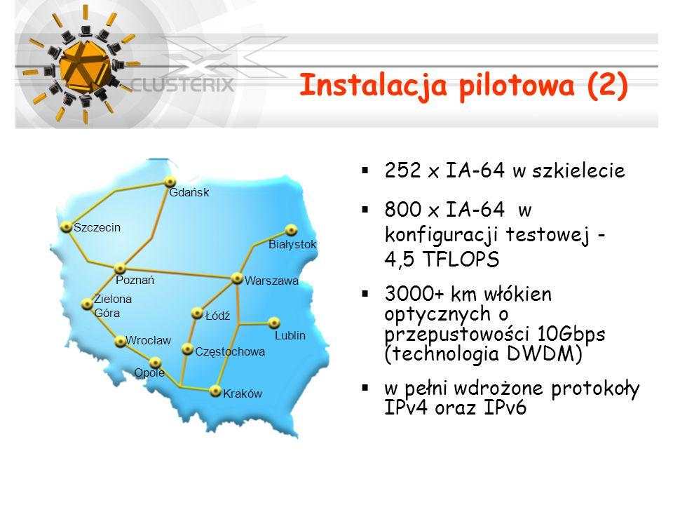 Instalacja pilotowa (2)  252 x IA-64 w szkielecie  800 x IA-64 w konfiguracji testowej - 4,5 TFLOPS  3000+ km włókien optycznych o przepustowości 10Gbps (technologia DWDM)  w pełni wdrożone protokoły IPv4 oraz IPv6 Gdańsk Szczecin Poznań Zielona Góra Wrocław Opole Częstochowa Kraków Łódź Lublin Warszawa Białystok